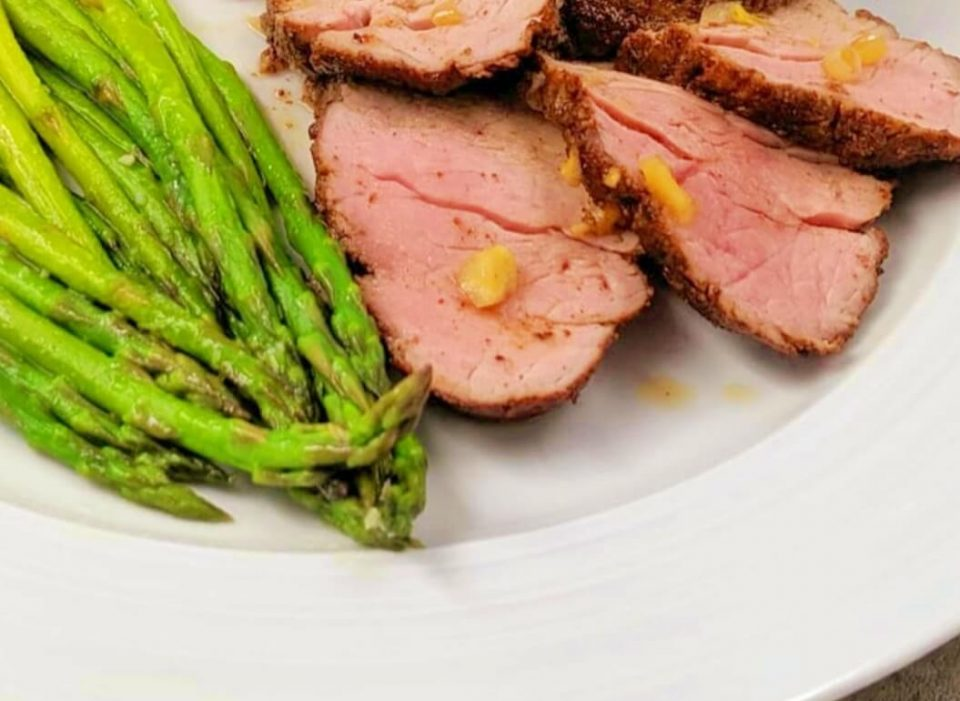 air fryer pork tenderloin with roasted asaparagus